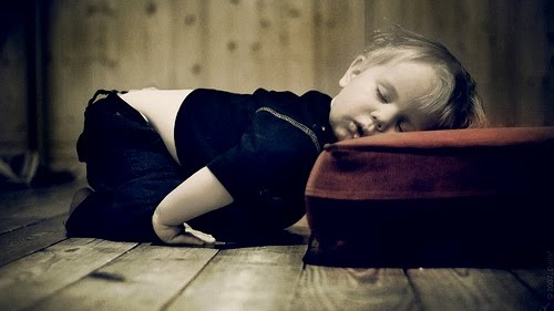 Child sleeping with exhaustion