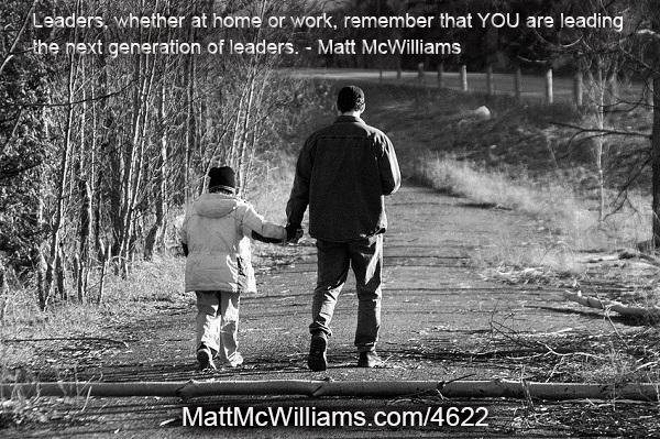 Parent leading a child