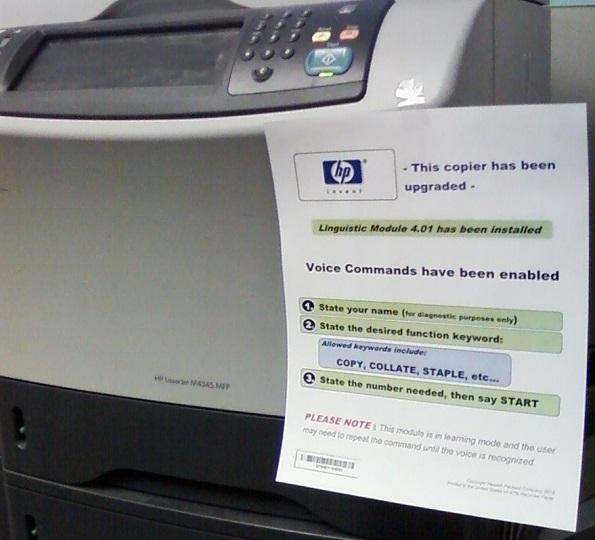 Voice Command Printer - April Fool's Office Joke