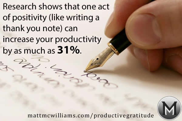 Thank you notes give you a 31% increase in productivity
