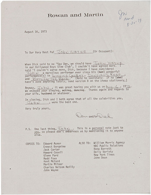 Rowan and Martin Thank You Letter to John Wayne