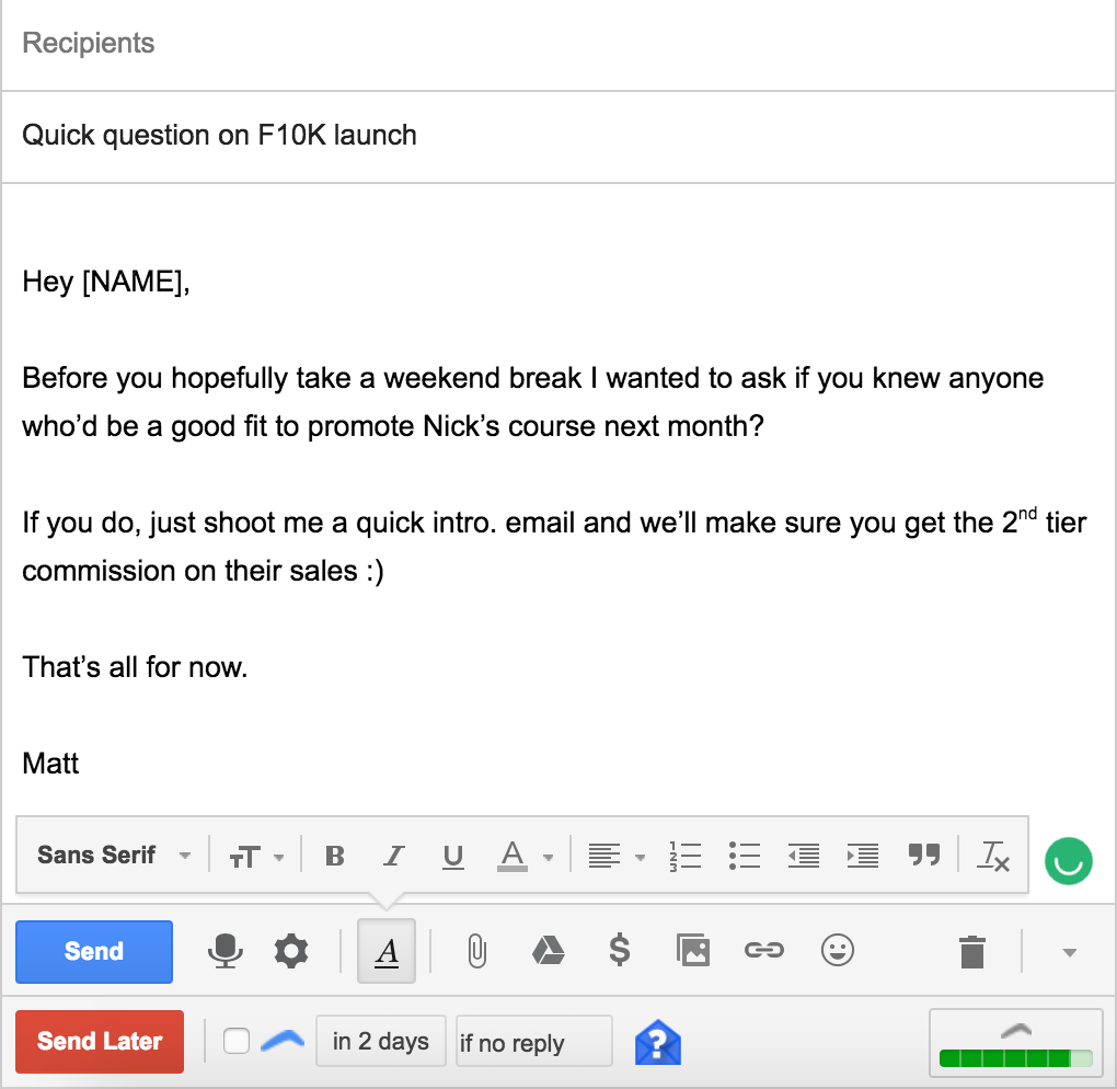 asking for referrals email