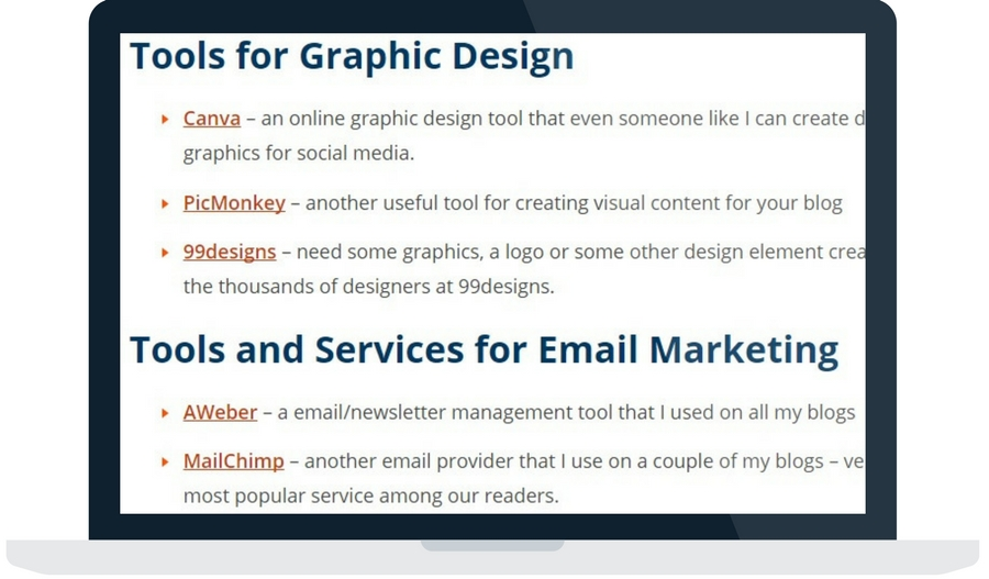 Blog resources page example