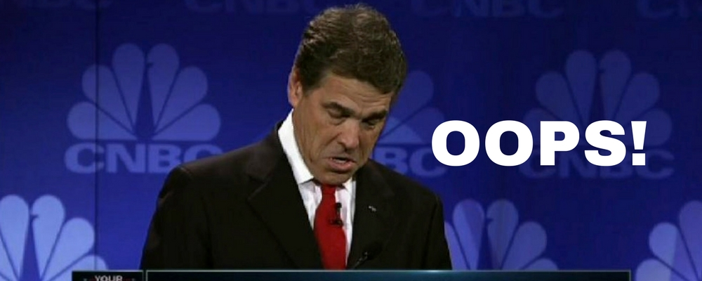 Rick Perry debate oops
