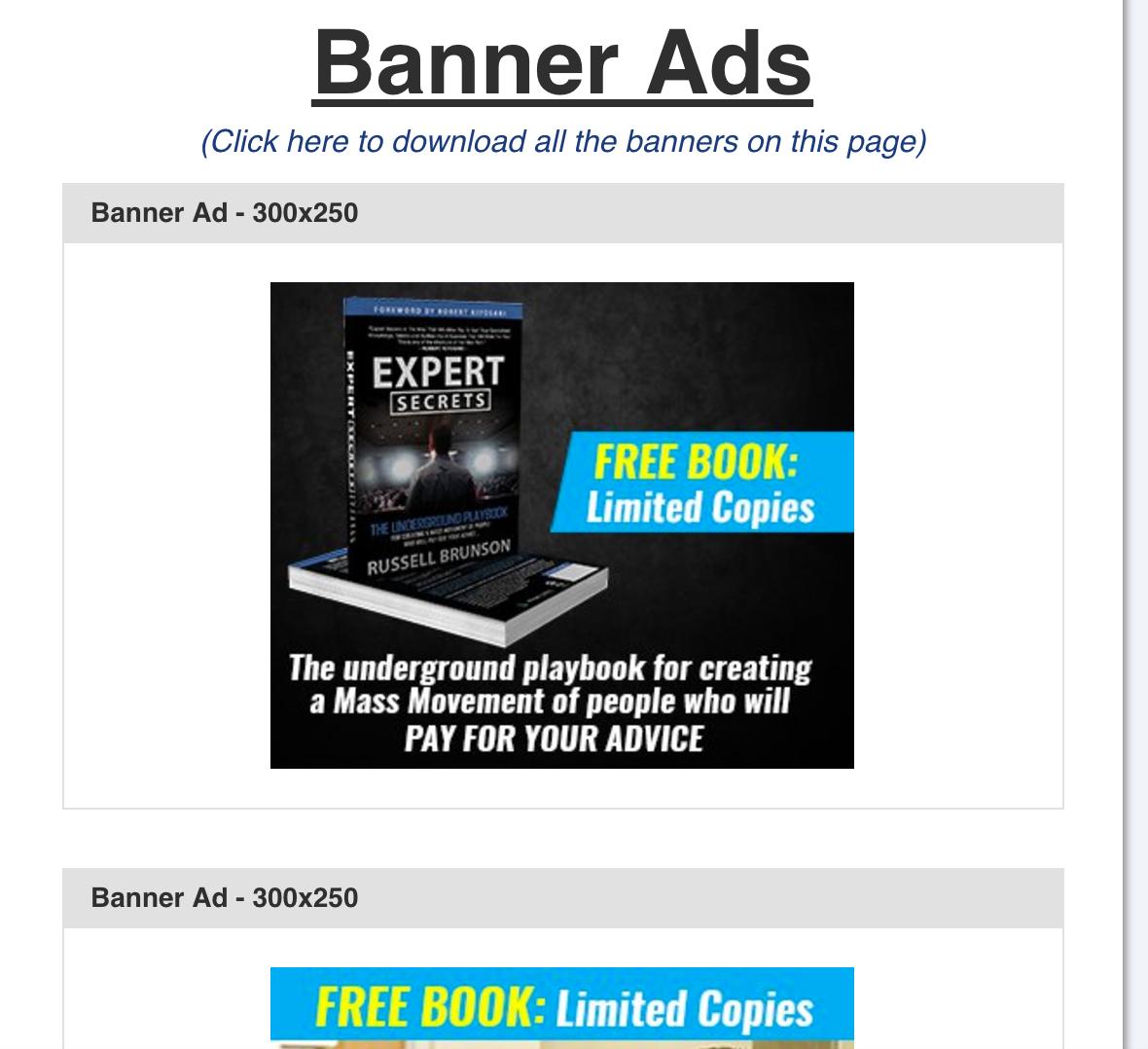 Russell Brunson's Expert Secrets Sidebar Ad