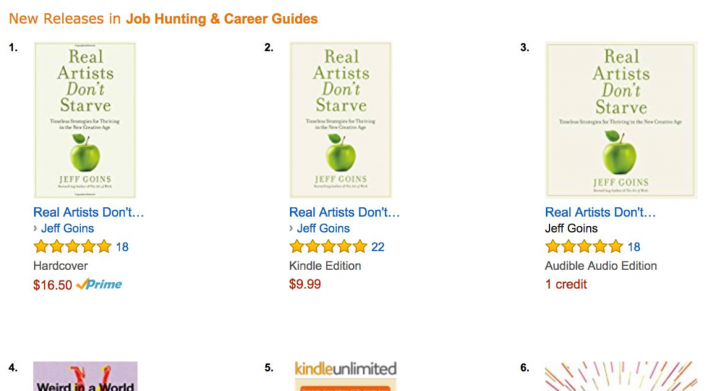 Jeff Goins Real Artists Don't Starve Amazon Ranking