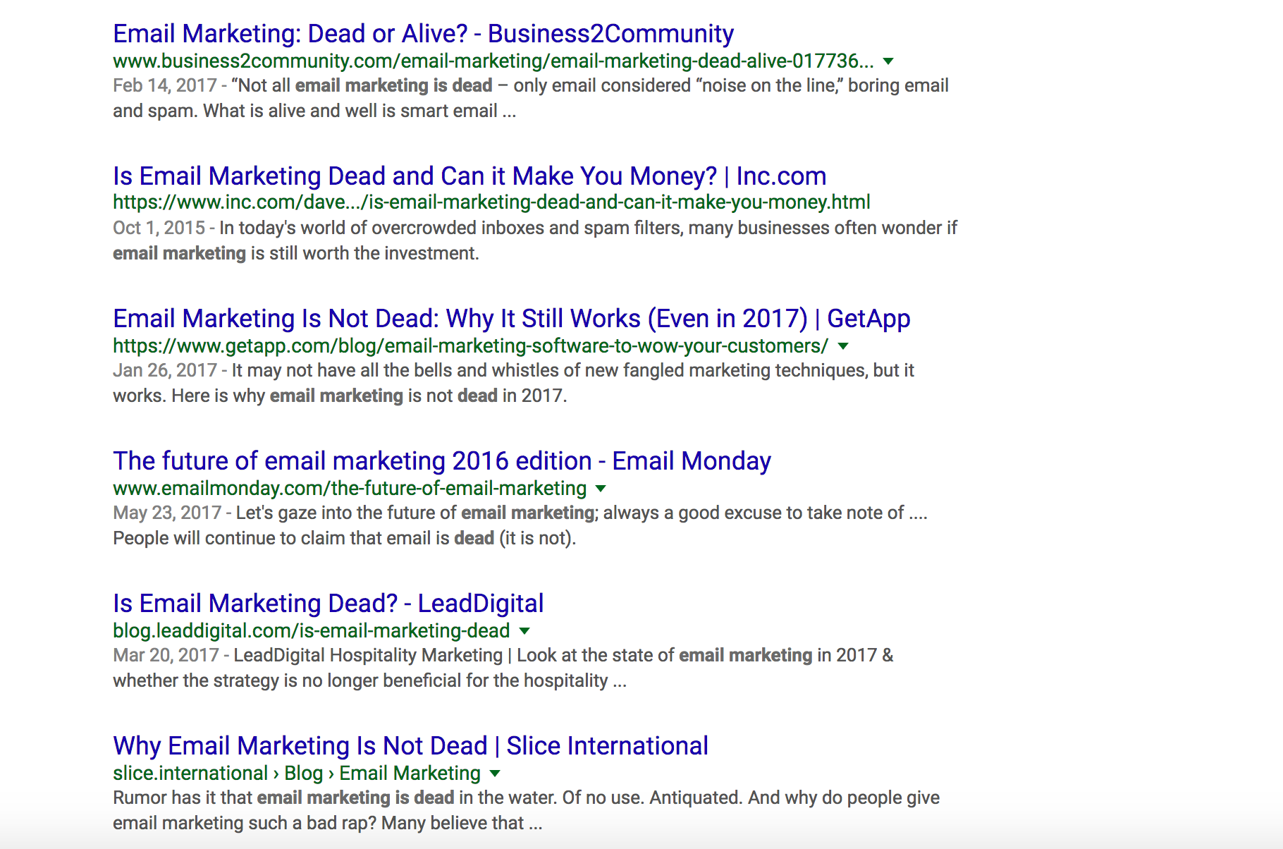 Is Email Marketing Dead search results