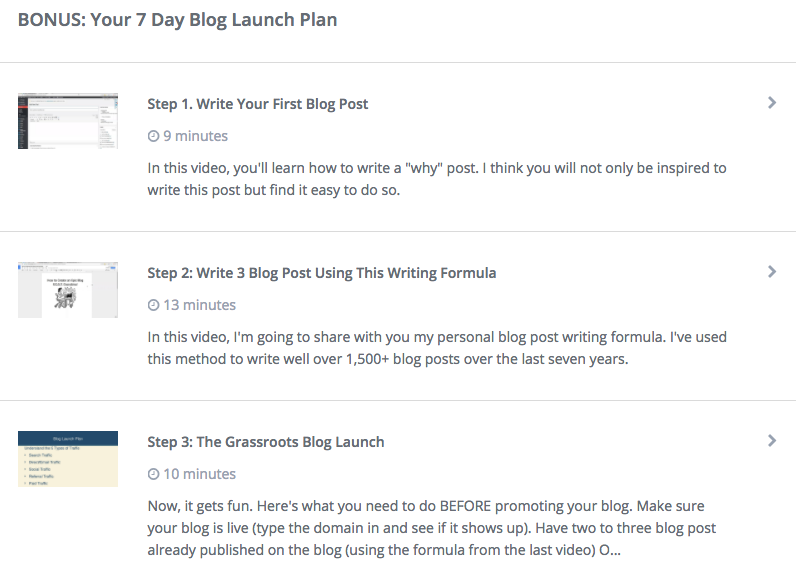 Bonuses for Blogging Your Passion 101 course