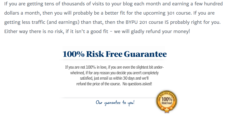 Blogging Your Passion University Guarantee