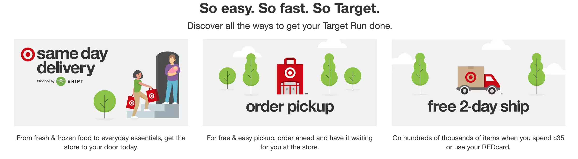 Target same day delivery pickup and two day shipping for low priced commodity items