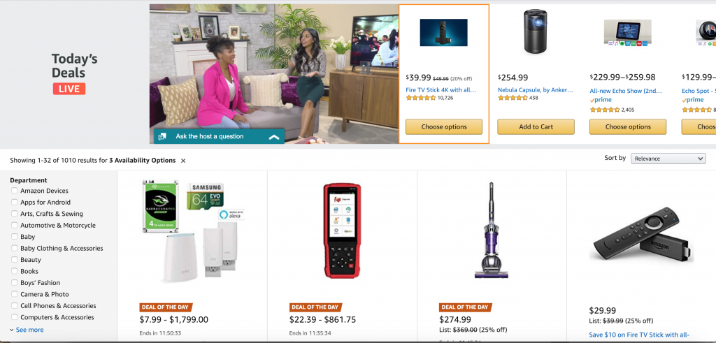 Amazon today's deals live low cost discounted items and commodities